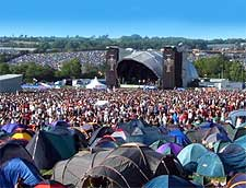 Picture of festival-goers and campers at Glastonbury