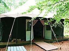 Photo of a luxury tent at the Jollydays camping site in North Yorkshire