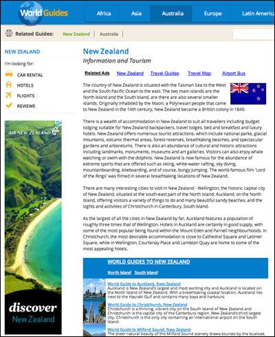 New Zealand banner advert