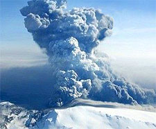 Picture of the erupting Eyjafjallajokull Volcano in Iceland