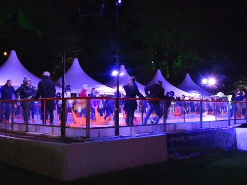 Photo of open-air ice skating rink in Bournemouth, pictured at night