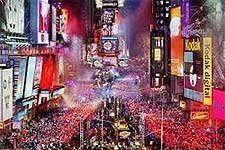 Photo of the world-famous New Year's Eve Ball Drop in Times Square, Manhattan, New York, USA