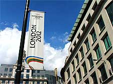 Picture of the London Olympics 2012 banner located at The Monument
