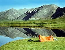 Photo of mountain tent at the Arctic National Wildlife Refuge in Alaska