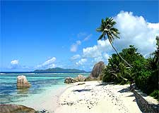View of the Anse Source d'Argent Beach, located on the Seychelles island of La Digue