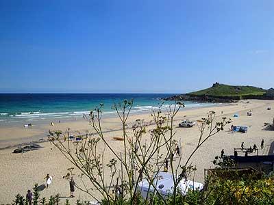 A sunny day at the popular Porthmeor Beach