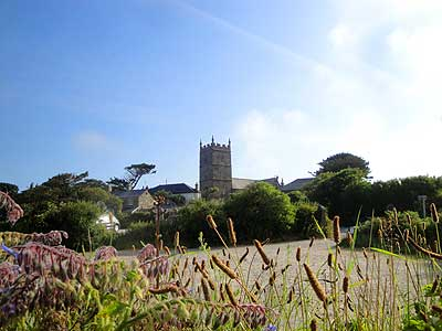 Photo showing the village of Zennor and its small church