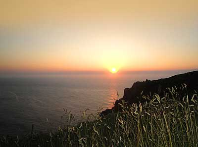 Image of the sun setting off Zennor Head