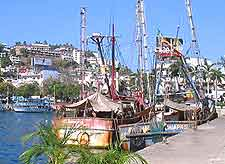 Image of local fishing boats in Acapulco