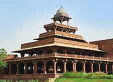 View of red-sandstone palace buildings at Fatehpur Sikri