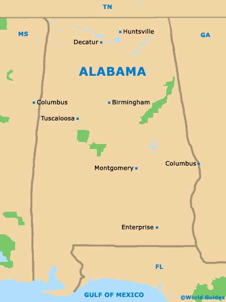 Alabama AL State Map