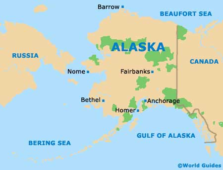 Map of Alaska AK State