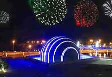 Picture of nighttime fireworks over Alexandria Planetarium