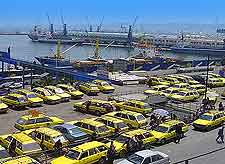 Picture of waiting taxis at the port