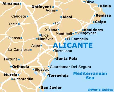 Map Of Javier Spain.Alicante Maps And Orientation Alicante Costa Blanca Spain