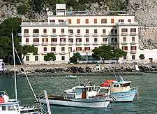 View of waterfront hotel and boats