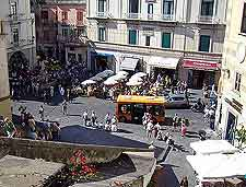 View of the town centre and local minibus