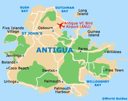 st johns antigua map