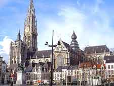 Different picture of the Groenplaats Square and Antwerp cathedral