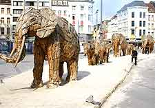 Photo of wooden elephants close to the Antwerp train station