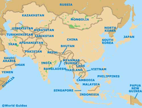 Map Of Asia Dubai.Asia And The Middle East Tourism And Tourist Information