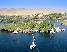 Aerial image of the River Nile and Egyptian felucca boats