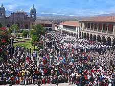 Further view of summer crowds filling the Plaza de Armas