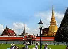 View of the Grand Palace and Wat Phra Kaew (Temple of the Emerald Buddha)