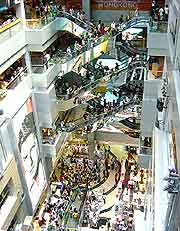 Interior photo of busy mall