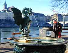 Picture of a traditional Basilisken Brunnen fountain in Basel