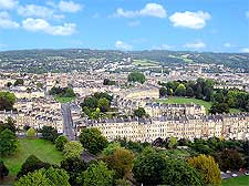 Aerial view over Bath