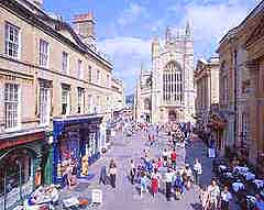 Photograph showing Bath's shopping scene