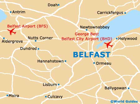 Map of Belfast Airports