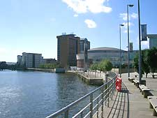 Picture showing Belfast's River Lagan flowing past The Waterfront Concert Hall