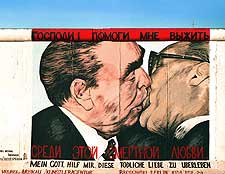 Picture of famous wall painting at the East Side Gallery