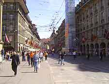 View of the main shopping district and cafes