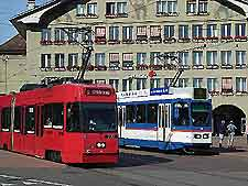 Photo of electric trams in the city centre