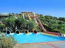 Summer image showing the waterslides at the Dedeman Aquapark