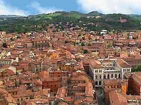 View across the city of Bologna
