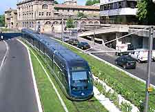 Picture showing electric tram network in the city
