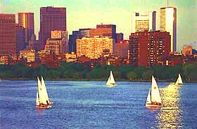 Sailing along Boston Harbor photo