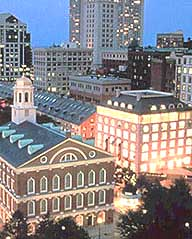 Photo of Boston city center at night