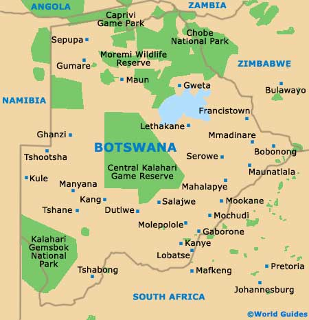 maps of botswana. Map of Botswana