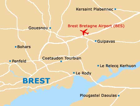 Map of Brest Bretagne Airport BES Orientation and Maps for BES