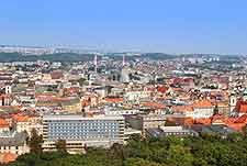 Aerial picture showing central Brno hotels
