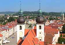Aerial photo of the town of Telc
