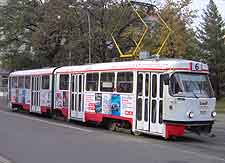 Close-up picture of tram in the city centre