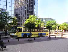 Photo of bus driving around the city centre