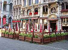 View of diners on the Grote Markt square