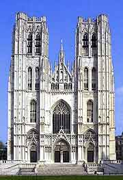 Different view of the St. Michael and St. Gudula Cathedral in Brussels